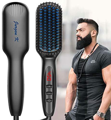 Beard Straightener for Men, Ceramic & Ionic Beard Brush for Men with Fast Heating and Anti-Scald, Heated Beard Comb Beard Straightener Brush, Dual Voltage Beard Straightening Comb for Men Gifts