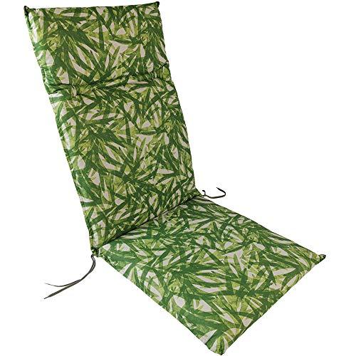 Kettler Hochlehner Auflage für Gartenstühle 120x48 cm Dessin 931 Grün - Palmenmotiv - 6cm Dicke Polsterauflage mit Befestigungskordeln und Halteband
