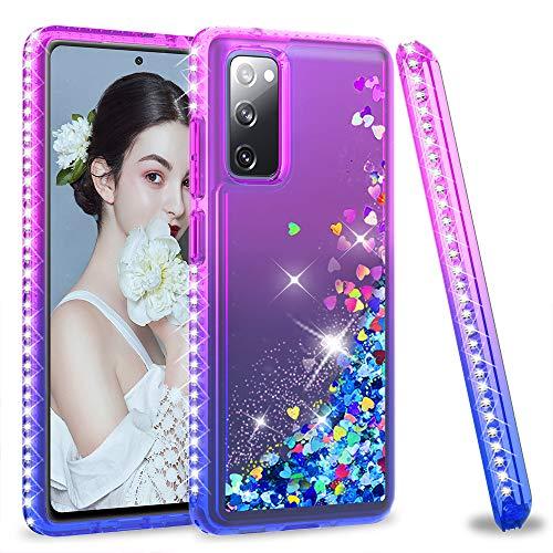 LeYi für Samsung Galaxy S20 FE 4G/5G Hülle Glitzer Handyhülle, Diamond Cover Bumper Schutzhülle für Hülle Samsung Galaxy S20 FE (Fan Edition) 4G/5G Handy Hüllen Lila Blau