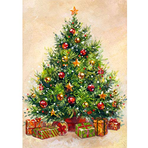 MXJ DIY 5D Diamond Painting by Number Kits Full Round Drill Rhinestone Picture Art Craft for Home Wall Decor Christmas Tree 12x16In