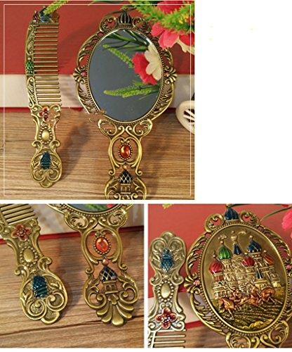 Vestir retro estaño Latón espejo de maquillaje mesa plegable (Color : B-4)