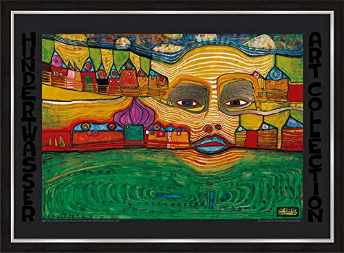 artissimo, Premium-Kunstdruck gerahmt, 72x53cm, AG4692, Friedensreich Hundertwasser: Irinaland über dem Balkan, Bild mit Rahmen, Wandbild, Poster, Wanddekoration