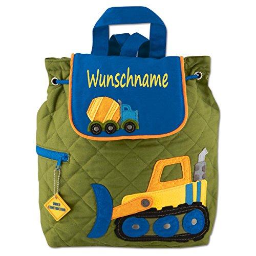 Elefantasie Rucksack Kindergartentasche mit Namen Bedruckt Motiv Baustelle