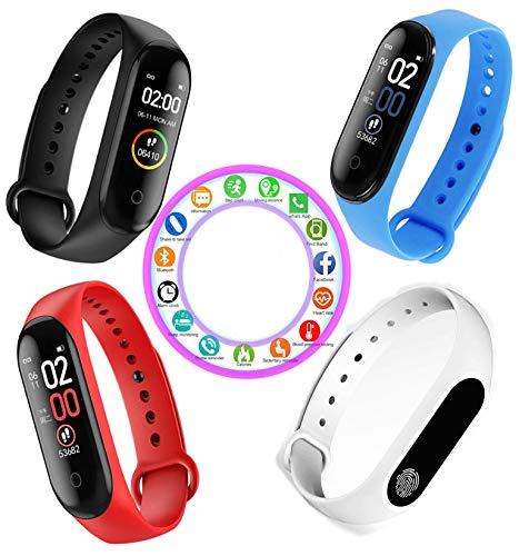 Reloj Inteligente Rojo M4 Pantalla Color Smartwatch Impermeable Bluetooth Smart