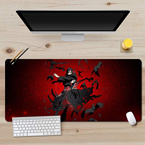 Bellagster-Stitched Edge Mouse pad/Naruto Uchiha Itachi Anime Mouse pad/XL XXL Gaming Mouse pad Non-Slip/Anti-Dirty/Waterproof Mouse pad-27.5 inches × 11.8 inches (700 mm 300 mm)
