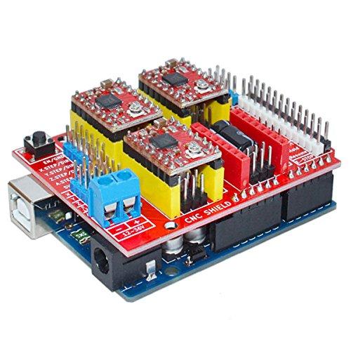U: UNO R3 met de ladder 4-delig A4988 met de uitbreidingskaart van het V3 voor de 3D-printer van Arduino.