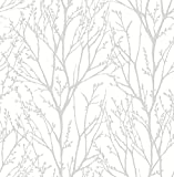 NuWallpaper NU2394 Treetops Peel & Stick Wallpaper, White & Off-White