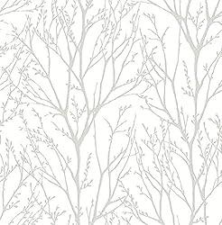 powerful NuWallpaper NU2394 Treetops Peel  Stick Wallpaper, White and Cream
