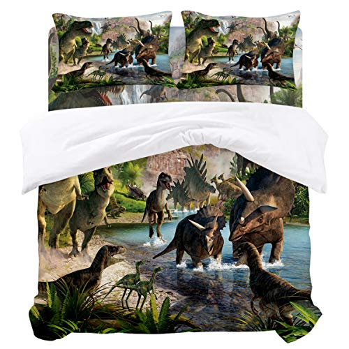 URDER Microfiber Duvet Cover Sets with Zipper Closure & Corner Ties, Jurassic Ancient Dinosaur Soft and Breathable Bedding Set, Flat Sheet and Pillowcases - 4 Pieces Queen Size