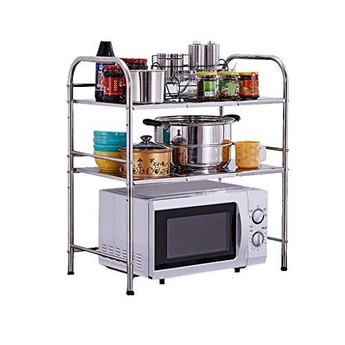 Estantes de horno de microondas de cocina con 6 ganchos Estante de almacenamiento de 3 niveles de acero inoxidable extensible Estante de especias de pie en el estante Estante de platos, laminado Ajust