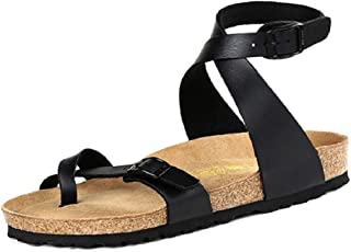 VANDIMI Flat Sandals for Women Toe Loop Cork with Ankle Strap Shoes Buckle Cross Sneaker Thong Flip Flop