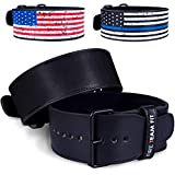Fire Team Fit Single Prong Leather Weightlifting Belt (Black, Large)