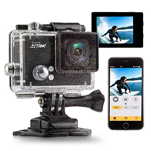 Serenelife 4 K 60 fps WiFi impermeabile sport Action Camera ultra HD 1080p 16 MP con Full color 5,1 cm LCD Display pannello