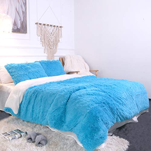 Sleepwish Blue Plush Duvet Cover Set – Violet Faux Fur Bedding, Twin, Full, Queen, and King Size – Bedding Set with Blanket Cover and Two Pillow Shams – Ultra Soft and Comfortable – Cute Room Decor