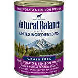 Natural Balance L.I.D. Limited Ingredient Diets Wet Dog Food, Sweet Potato & Venison Formula, 13 Ounce Can (Pack of 12)