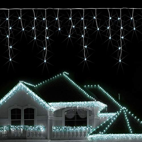 KRY Safe Voltage Fully Weatherproof Icicle Christmas Fairy Lights Brilliant Cool White 300 LED 6M Wide 60 Drops Plus a Massive 10M Lead Cable, 8 Modes, Low Safe Voltage