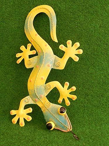 Trendshop-online Gecko Eidechse Salamander Echse Wanddeko Metall Gelb-Türkis 40 cm Gartendeko Blechfigur