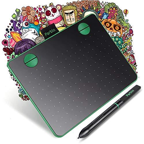 Parblo A640 Tableta Gráfica Digitalizadora 6 x 4 Pulgadas para OSU, 8192 Niveles Presión para Dibujar, óptima para la educación en línea y el teletrabajo, Compatible con Windows y Mac, Verde