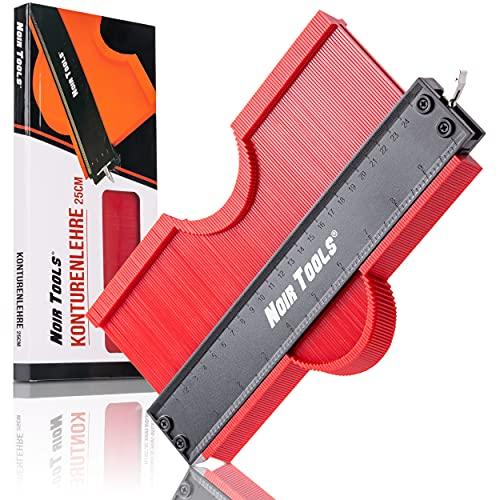 NOIR TOOLS Medidor de contorno, 25 cm, rojo, con cerradura para fijar, calibrador de copia para laminados y baldosas, medidor de perfiles, para empleadores de suelo