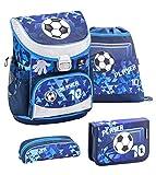 Belmil ergonomischer Schulranzen Set 4 -teilig für Jungen 1, 2 Klasse Grundschule/Super Leicht 750-800 g/Brustgurt/Fußball, Football/Blau, Blue (405-33 Player)