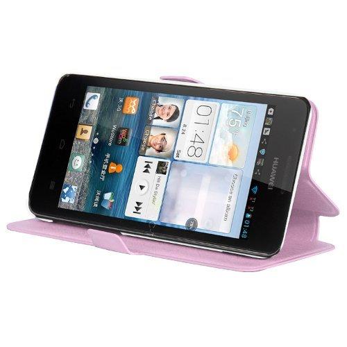 Cadorabo Hülle für Huawei Ascend G520 / G525 - Hülle in ICY Rose – Handyhülle mit Standfunktion & Kartenfach im Ultra Slim Design - Case Cover Schutzhülle Etui Tasche Book