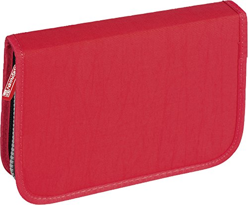 Brunnen 104918720 Schüler-Etui Crinkle (19,5 x 13,5 x 3,5 cm, 1 Klappen, rot unbefüllt bis auf Lineal 16 cm, Metalldoppelspitzer, Radiergummi)
