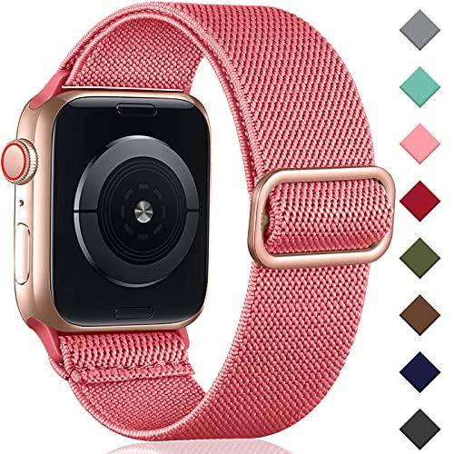 Oielai Solo Loop Correa de Compatible con Apple Watch 44mm 42mm 38mm 40mm, Correa Nylon de Repuesto Elástico Compatible con Apple Watch SE/iWatch Series 6 5 4 3 2 1, 38mm/40mm, Ponche Rosa