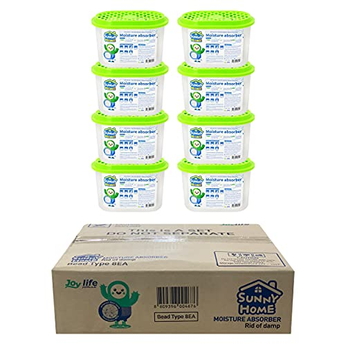 SUNNY HOME Moisture Absorber (8 Packs) 9.17oz Unscented for Home. Odor Eliminator, Dehumidifier, and Deodorizer for Closet, Bathroom, Kitchen (8)