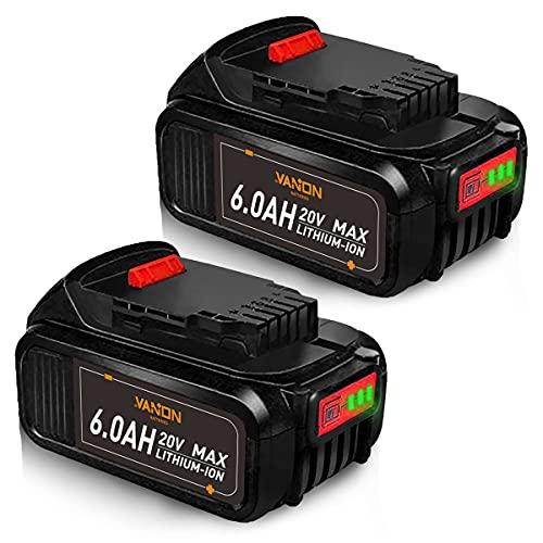 2Pack 6.0Ah DCB205 Replacement for DEWALT MAX XR 20V Battery,Compatible with Dewalt 20v Battery DCB204 DCB206 DCB201 DCB203