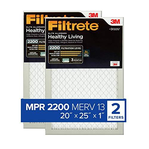 Filtrete MPR 2200 20x25x1 AC Furnace Air Filter, Healthy Living Elite Allergen, 2-Pack