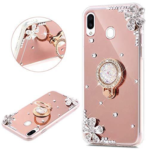 JAWSEU Compatible avec Samsung Galaxy M20 Coque Silicone Glitter Strass Diamant Miroir Bague de Support,Luxe Mode Cristal Clair Fleur Miroir Etui SoupleTPU Gel Téléphone Coque Bumper Case,or rose