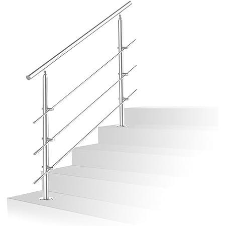 Treppengel/änder mit ohne Querstreben f/ür den Einsatz im Innen und Au/ßenbereich Hengda Handlauf Edelstahl 160 cm geb/ürsteter Edelstahl