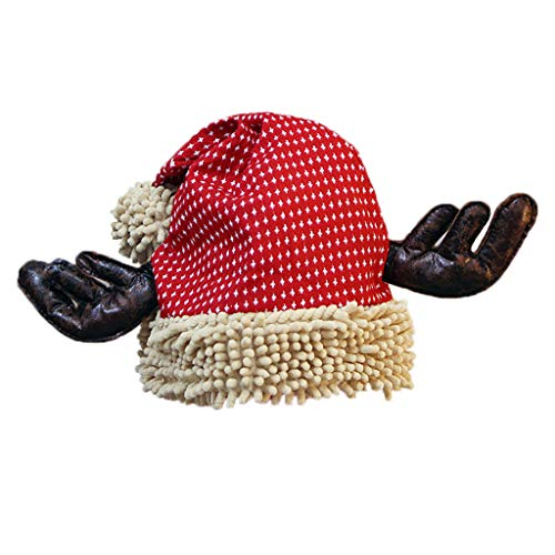 GOKOMO Weihnachtsmütze Christmas Hat Santa Hat Plush Trim Red Santa Hat Santa Plush Thick Fur Trim Soft and Comfortable for Adults(B)