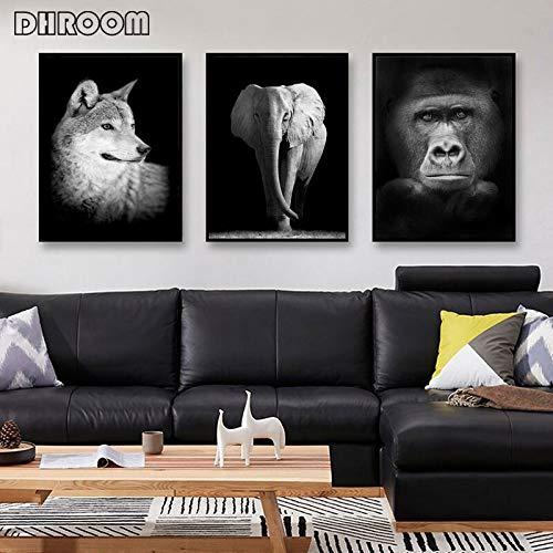 oioiu Kino Spielzimmer Leinwand Ölgemälde Tier Wandkunst Löwe Leopard Fuchs Poster Foto Wandbild Wohnzimmer Kinder Dekoration Heimtextilien Musik Cafe Club