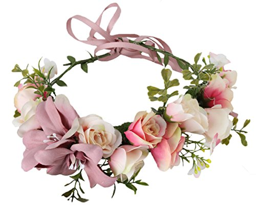 Women Flower Crown Bridal Flower Headband Hair Wreath Floral Headpiece Halo Boho with Ribbon Wedding Party Festival Photos Pink by Vivivalue