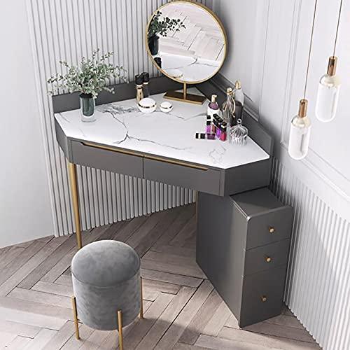 SWTOM Trucco Vanity Toilette Cassetto portaoggetti Sgabello Imbottito in Legno Design ad Angolo Piccolo Spazio Soggiorno Ragazze Donne Grigio