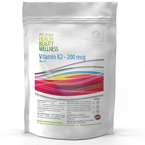 VITAMIN K2 (MK-7) 125 Tabletten (vegan) á 200µg für 4 Monate • natürliches Menachinon | Für die Blutgerinnung und den Calciumspiegel | Unterstützung für die Knochen | Hergestellt in Deutschland (125)