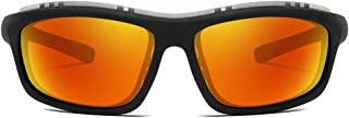 Fashion Orange/Blue/Black Men and Women with The New Models of Riding Sunglasses Sports Windproof Polarized Plastic Material Sunglasses Retro (Color : Orange)