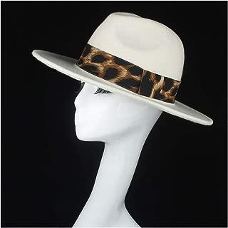 SHENTIANWEI 100% Wool Authentic Women White Fedora Hat for Elegant Lady Wide Brim Church Hat Trilby Hat Fascinator Size 56-58CM
