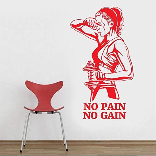 ASFGA Gym Wandtattoos kein Schmerz kein Gewinn Fitness Vinyl Aufkleber Motivation Art Deco Raumdekoration Tür 60x106cm