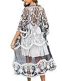 iWoo - Cárdigan kimono sexi para mujer, largo, para proteger del sol en la playa, de encaje floral estilo crochet para cubrirse en la playa. A-negro blanco Talla única