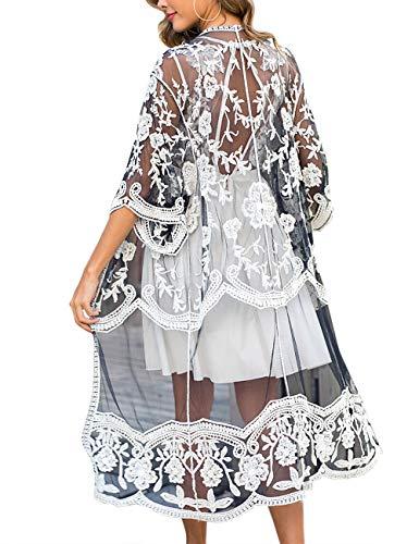 iWoo Kimono Damen Lang Strand Sexy Spitzen Cardigan Crochet Vorne Mode Perspektivische Festival Outfit-Schwarz Weiß