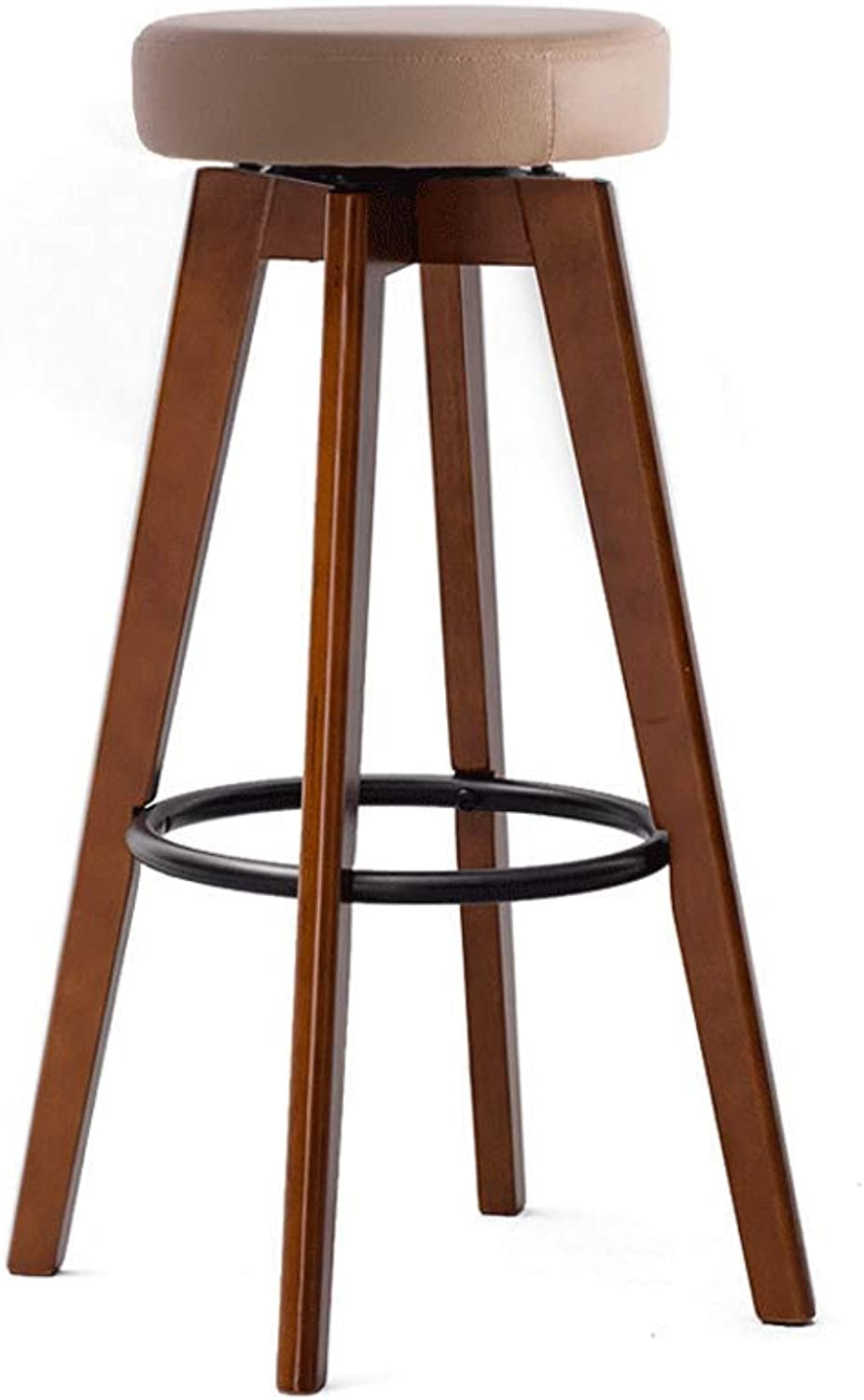 Bar Chair Bar Stool High Stool Home Solid Wood Bar Stool Modern Minimalist redating Creative Chair Multi-color (color   Brown Wood Brown, Size   74-Iron Ring)