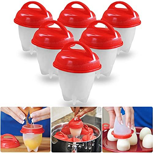 GOCOHHI Cocedor de huevos de silicona dura, sin cáscara, antiadherente, para cocinar al vapor, para utensilios de cocina (6 unidades)