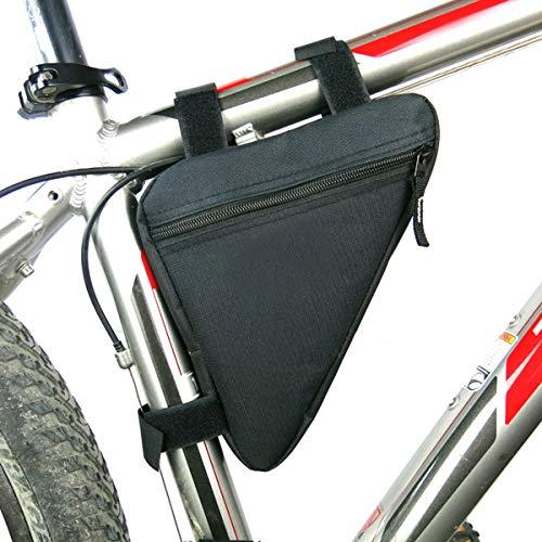 TheStriven Borsa Triangolare per Bicicletta Nera Borsa Triangolare con Tubo Anteriore per Bicicletta Borsa Portaoggetti Triangolo Sella per Strumenti di Riparazione di Mini Pompe per Biciclette