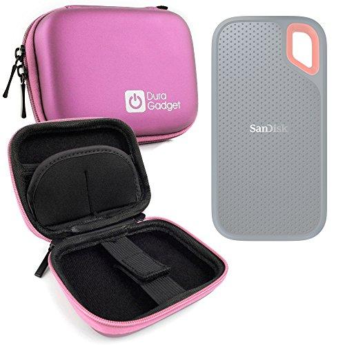 DURAGADGET Estuche Rígido Rosa para Disco Duro Externo Sandisk Extreme Portable SSD 1 TB SDSSDE60-1T00-G25 2 TB, 250G, 500 GB