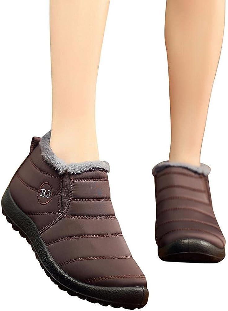 JMMSlmax Warm Snow Boots Women's Slip On Ankle Boots Fur Lining Short Boots Men Waterproof Slip On Outdoor Shoes