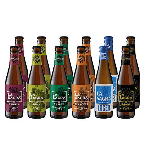 La Sagra Pack Cerveza Artesanal 6 Estilos, Botella, 12 x 330ml