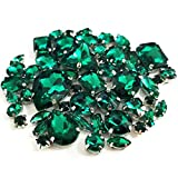 Brillabenny 58 Pietre CASTONI Strass da Cucito Mix Cristallo CABOCHON Rhinestone Claw Decorazione Accessori Bijoux Abiti (Emerald Malachite)