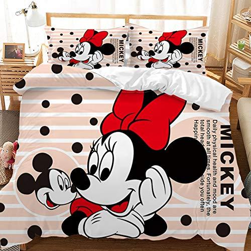 BATTE - Funda nórdica estampada Minnie Mickey Mouse para niños, microfibra, suave y cómoda, para la decoración del hogar (G, 135 x 200 cm)
